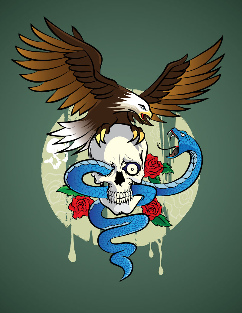 adobe illustrator tattoo skull drawing with a snake and an american bald eagle