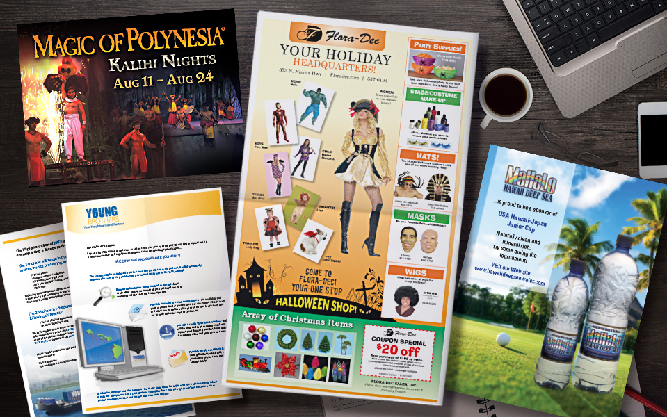 Various Ads for Newspapers, Magazines and Flyers.